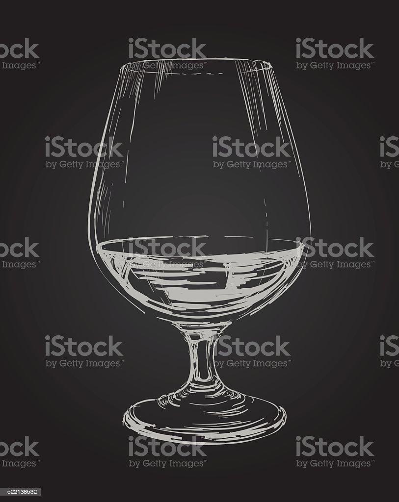 Glass of Brandy Vector Drawing Illustration vector art illustration