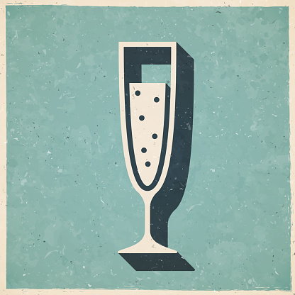 Glass of Champagne. Icon in retro vintage style - Old textured paper