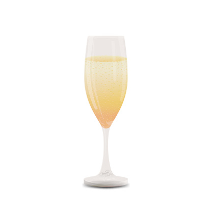 A glass of champagne isolated on a white background for your creativity