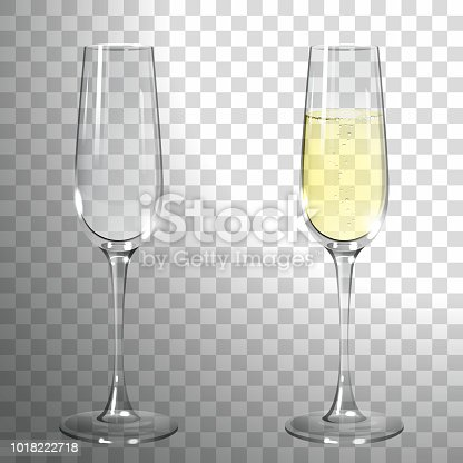 glass of champagne on a transparent background