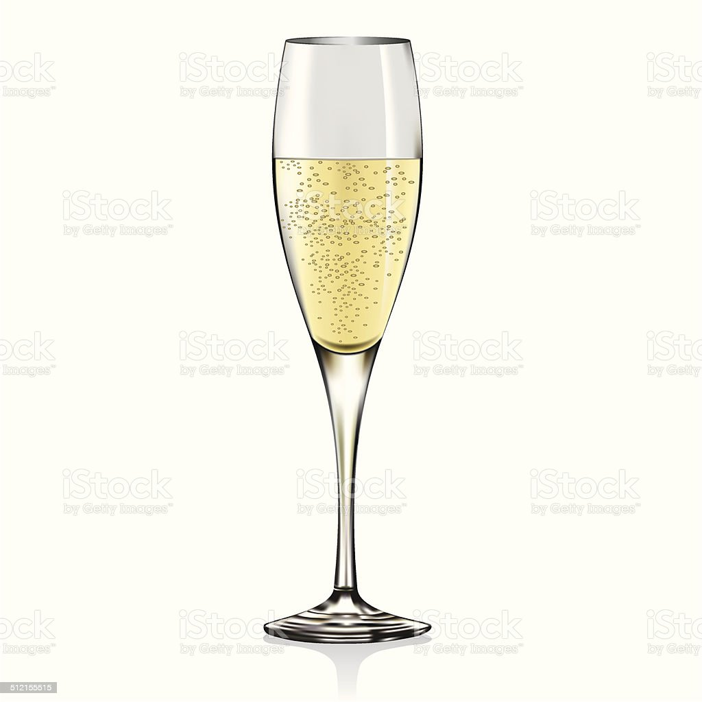 Glass of champagne vector art illustration