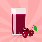 Glass of cherry juice and berries on a pink background. Vector flat illustration.