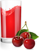 A glass of cherry juice realistic Vector.