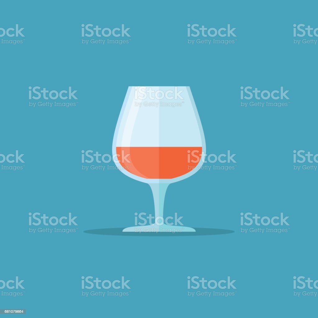 Glass of cognac or brandy flat style icon. Vector illustration. royalty-free glass of cognac or brandy flat style icon vector illustration stock vector art & more images of alcohol