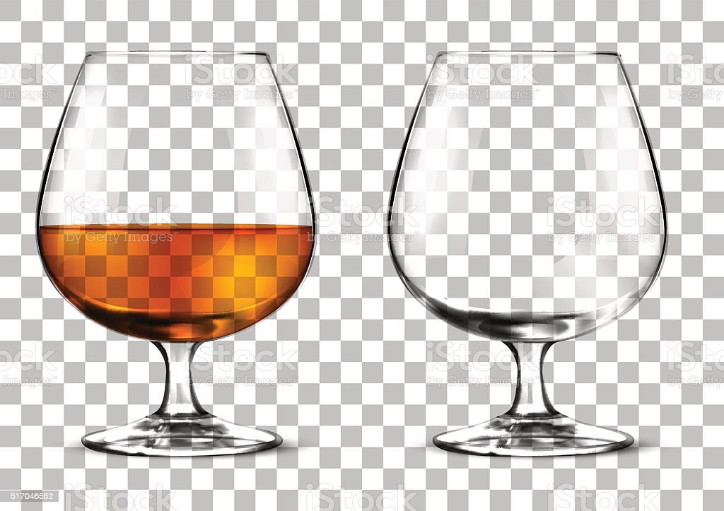 glass of cognac vector art illustration