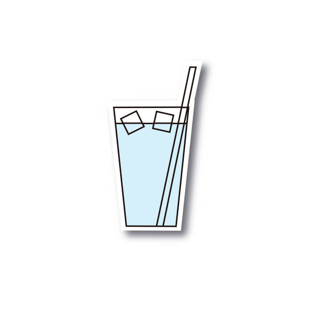 Glass of cold water vector art illustration