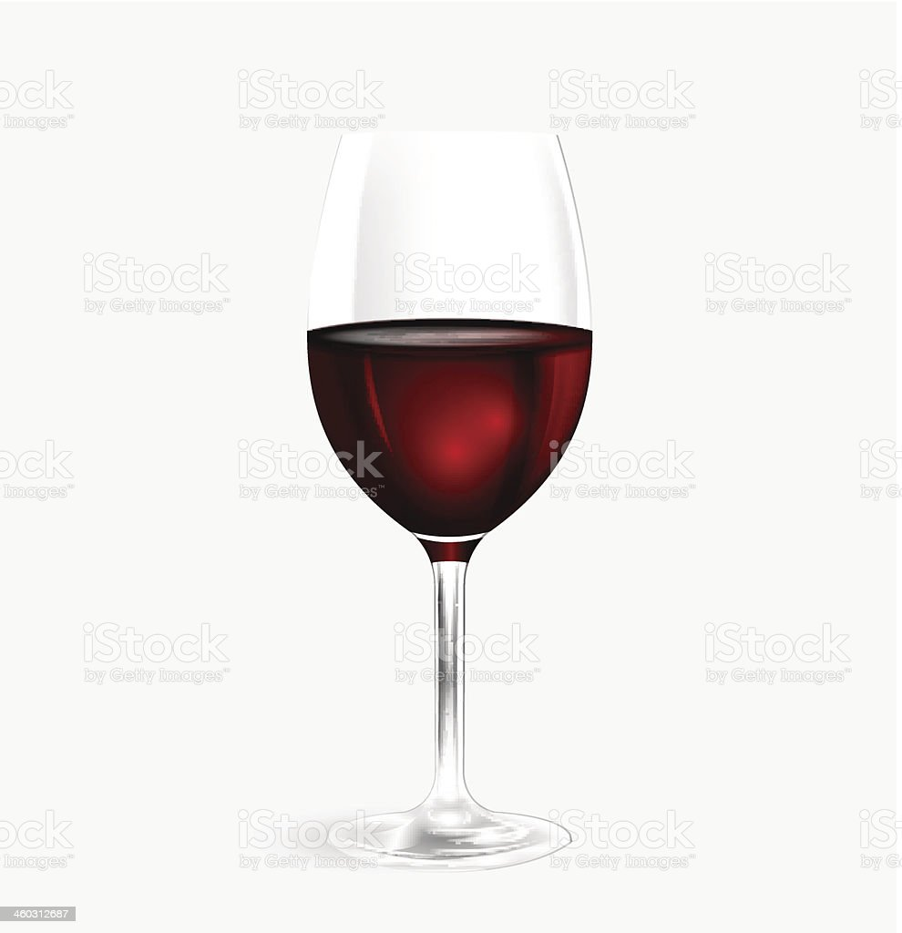 A glass of crystal red wine in white background vector art illustration