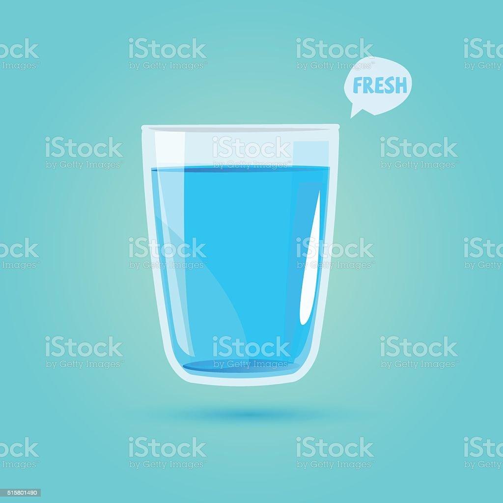 Vaso de agua potable bebida saludable concepto de Vector de - ilustración de arte vectorial