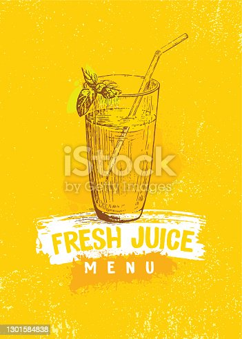 istock Glass of Fresh Juice Bar Menu Cover Concept. Healthy Food Handmade Craft Illustration On Organic Background 1301584838