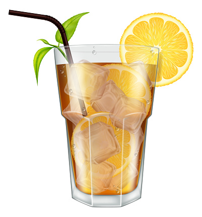 Glass of ice tea with lemon, ice cubes and tea leaves.