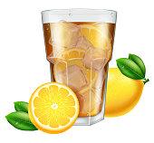 Glass of ice tea with lemon. Vector illustration.