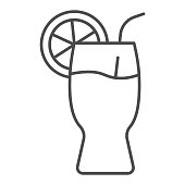 Glass of lemonade thin line icon. Summer beverage vector illustration isolated on white. Glass of juice outline style design, designed for web and app. Eps 10
