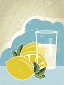 A simple vector cartoon of a glass of lemon juice, reminiscent of an old screen print poster. Glass,sky, paper texture and background are on different layers for easy editing.