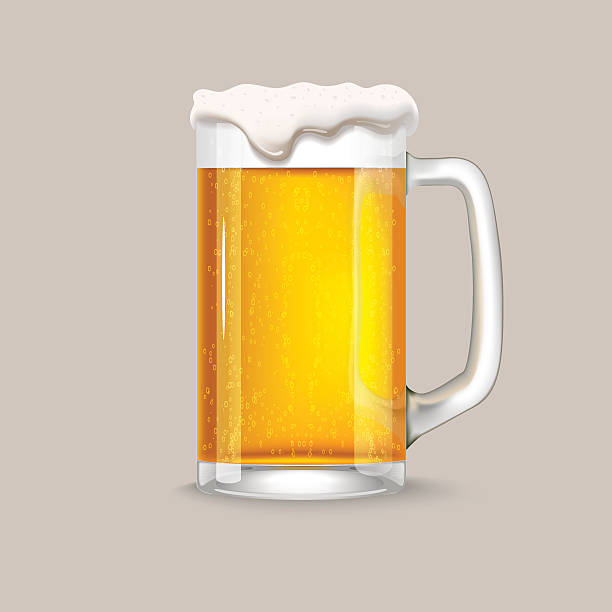 Glass of light beer vector art illustration