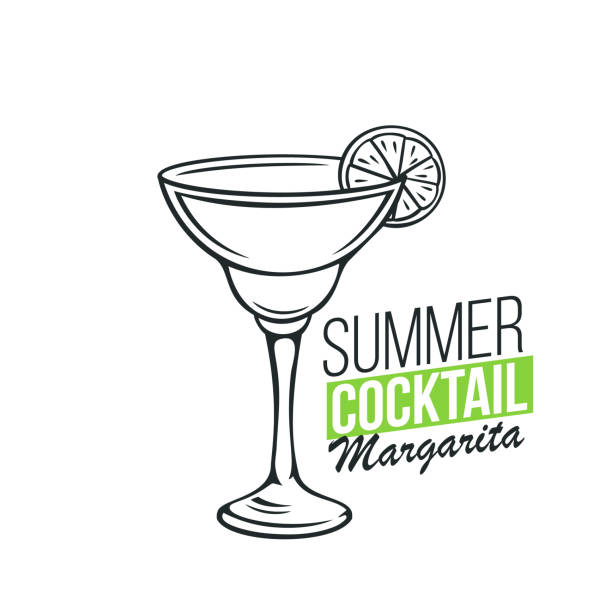 glass of Margarita cocktail Vector glass of Margarita cocktail with lime slice in hand drawn style. Retro illustration summer alcohol drink. margarita stock illustrations