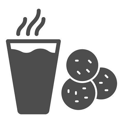 Glass of milk and cookies solid icon, Christmas concept, chocolate and sweet snack cookies sign on white background, hot drink with biscuits icon in glyph style. Vector graphics.