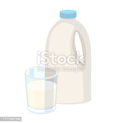 istock Glass of milk with gable top package close up. Cow milk carton and milk cup isolated on white background. Vector illustration for milk, food service, dairy, beverages, gastronomy, health food, etc 1171331104