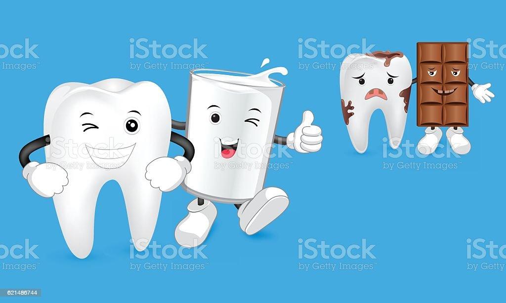Glass of milk with tooth Lizenzfreies glass of milk with tooth stock vektor art und mehr bilder von bildkomposition und technik