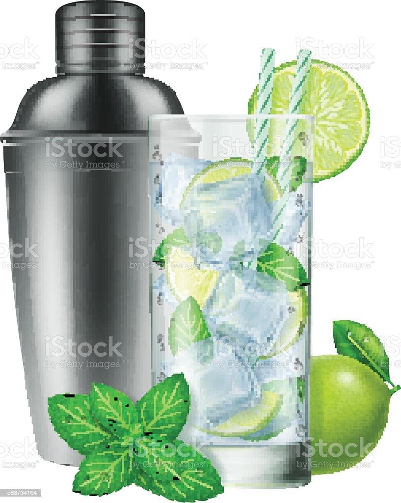 Glass of Mojito and a silver shaker. - illustrazione arte vettoriale