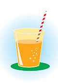 vector glass of orange juice with bubbles. Zip file contains additional AICS2 and PDF formats.
