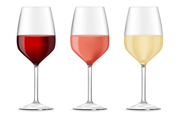 bildbanksillustrationer, clip art samt tecknat material och ikoner med glas rött, ros och vitt vin - vitt vin glas