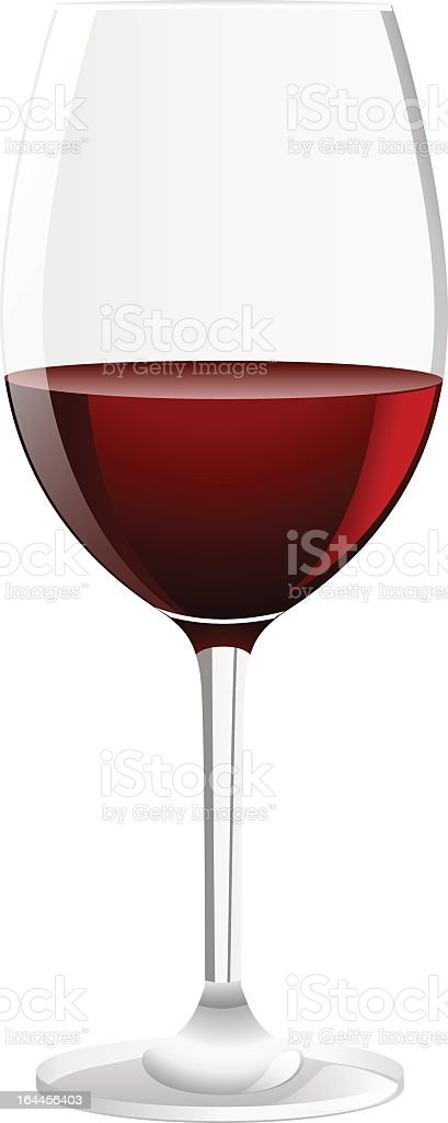 Glass of red wine isolated on white background vector art illustration