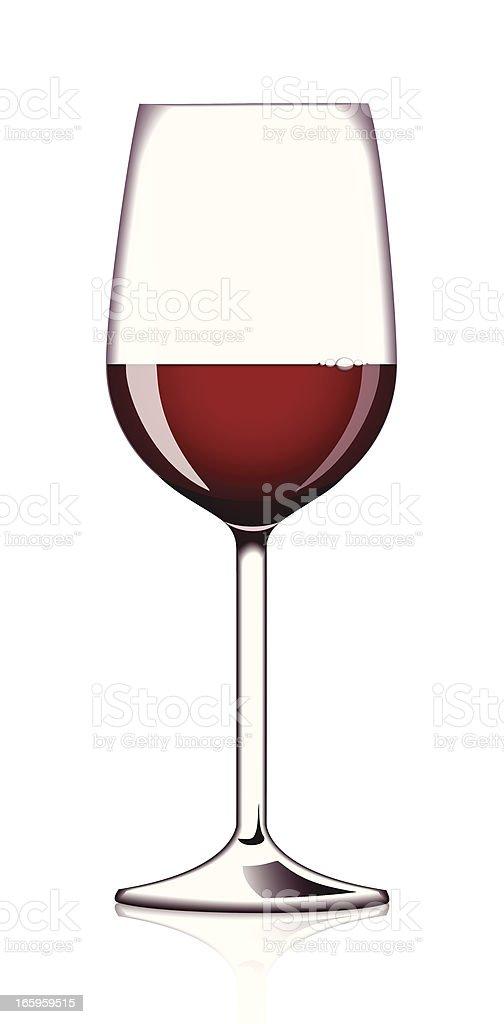 Glass of red wine vector art illustration