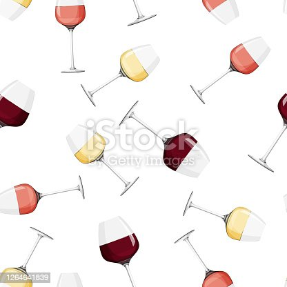 Seamless pattern with alcohol drink. Glass of rose wine background.