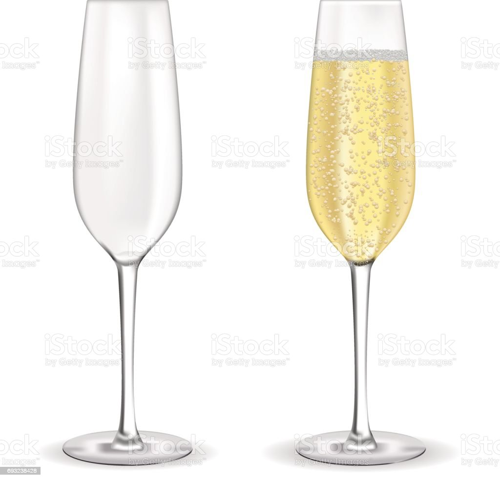Glas Sekt. Champagner mit Bläschen. - Lizenzfrei Alkoholisches Getränk Vektorgrafik