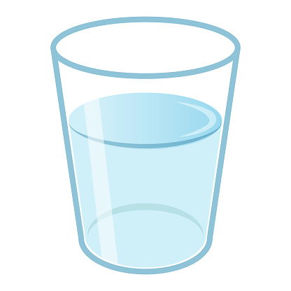 A glass of water. A simple image illustration