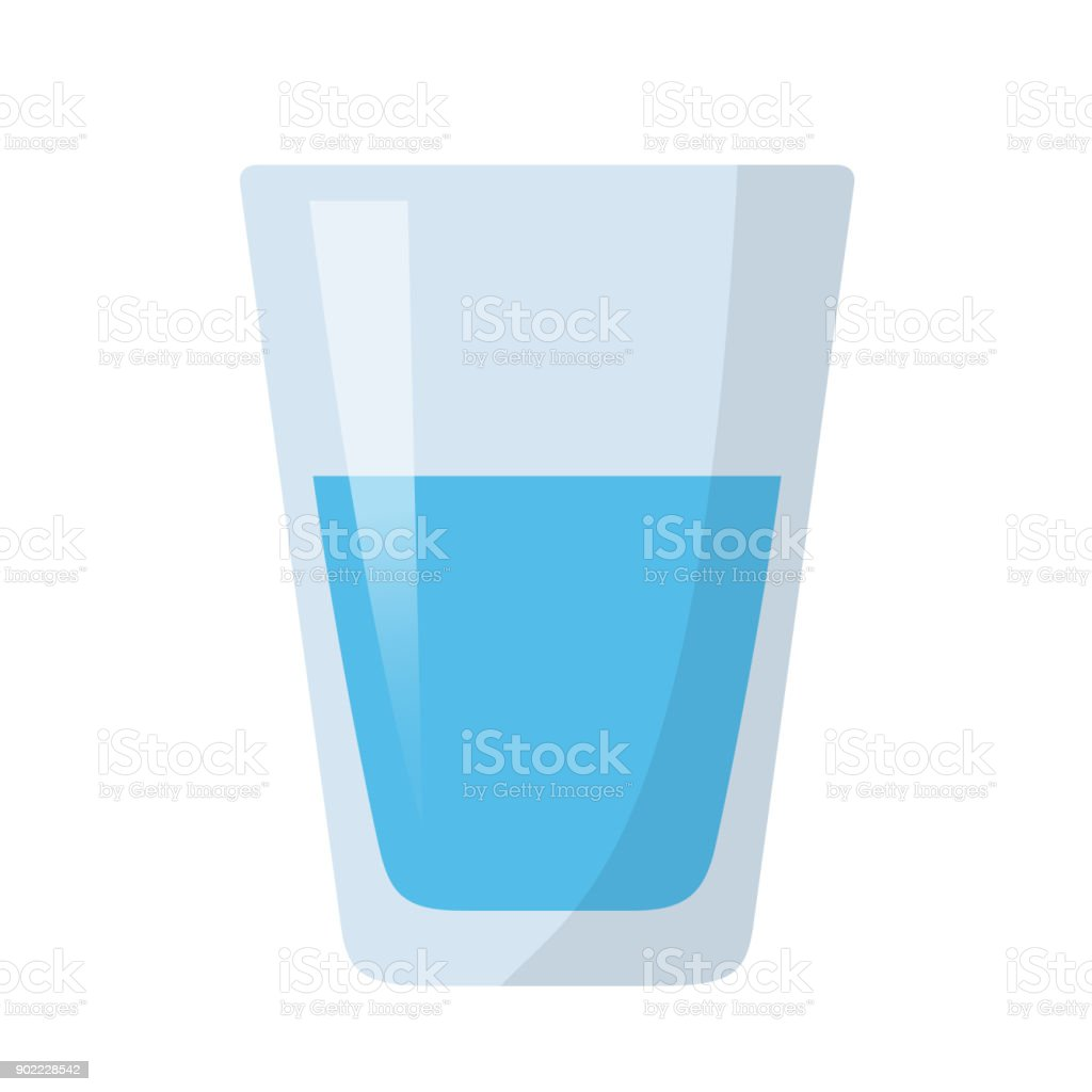 glass of water flat design royalty-free glass of water flat design stock illustration - download image now