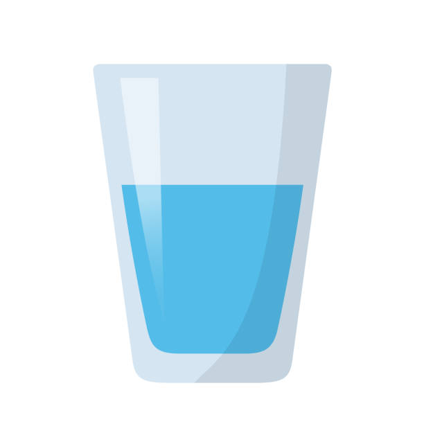 stockillustraties, clipart, cartoons en iconen met glas water plat ontwerp - water drinken