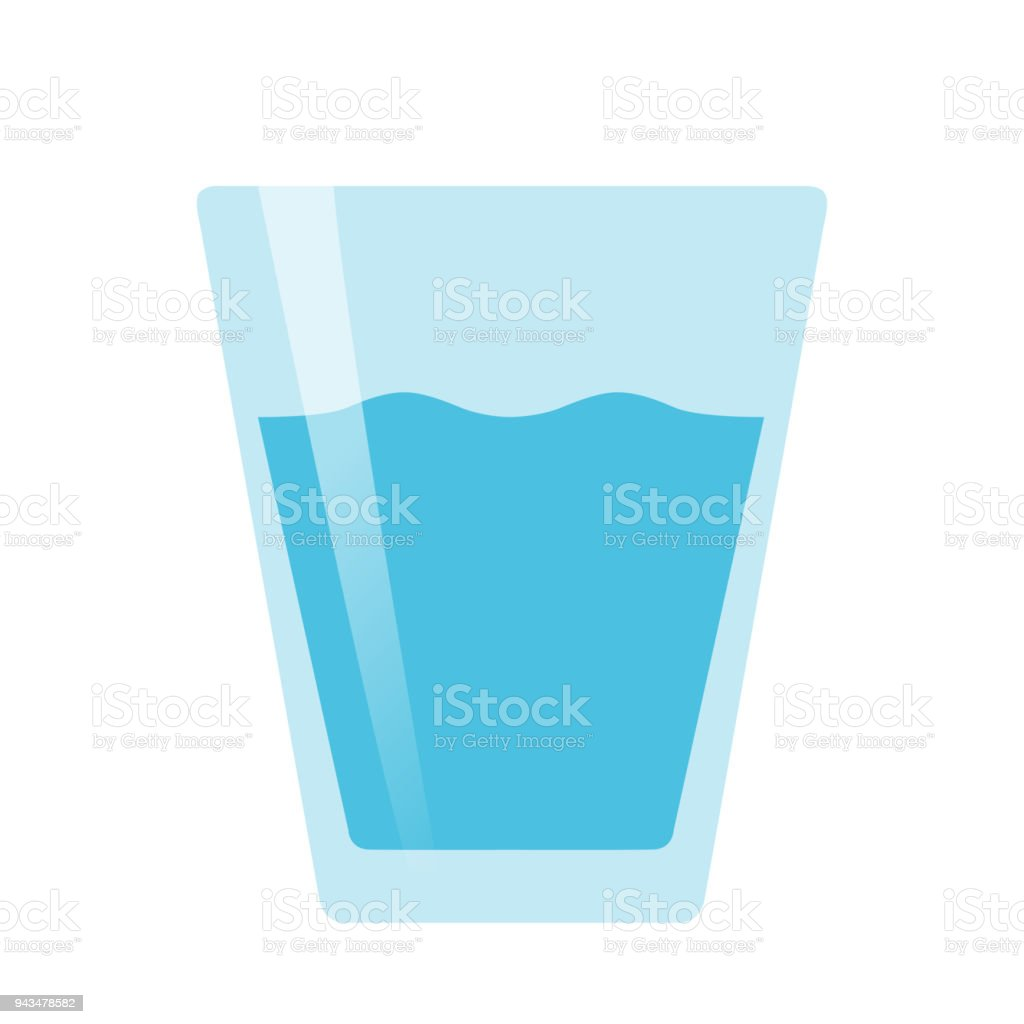 Glass of water flat vector on white background isolated vector art illustration