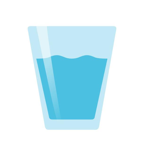 glass of water flat vector on white background isolated - kieliszek stock illustrations