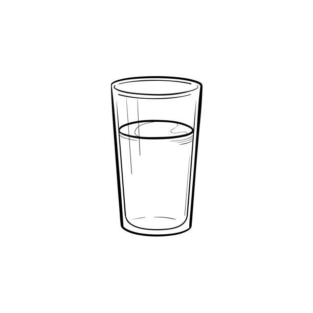 물 손으로 그려진된 스케치 아이콘의 유리 - 유리잔 stock illustrations