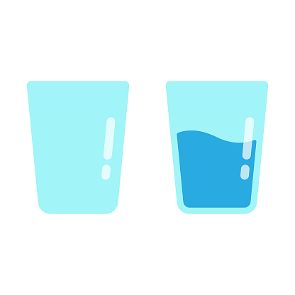 Glass of Water Icon Flat Design on White Background.