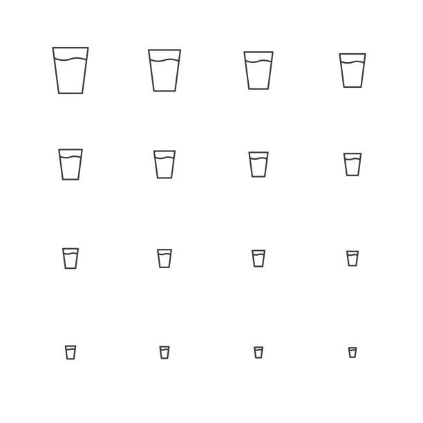 물 아이콘-멀티 규모 선 시리즈의 유리 - 유리잔 stock illustrations