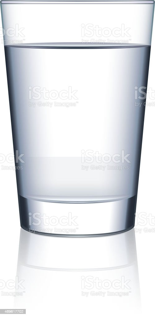 Glass of water isolated on white vector vector art illustration
