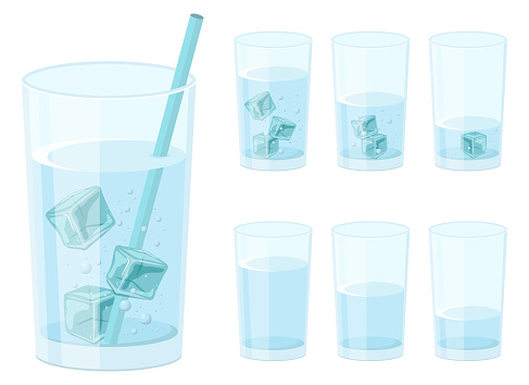 Glass of water with ice cubes vector design illustration isolated on white background