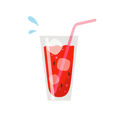 A glass of watermelon juice isolated on white background