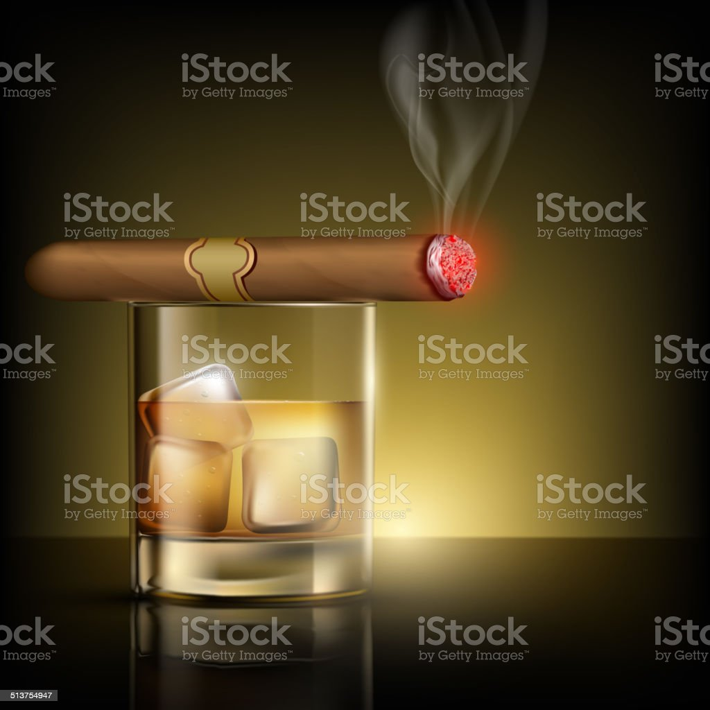 glass of whiskey with ice cubes and cigar vector art illustration