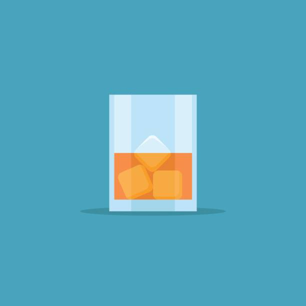 Glass of whiskey with ice flat style icon. Vector illustration. vector art illustration