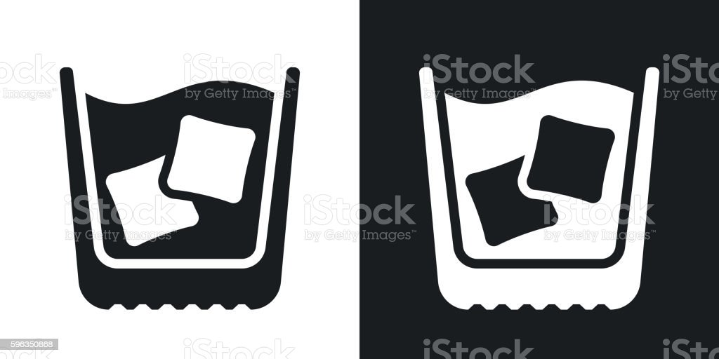 Glass of whiskey with ice, vector icon. royalty-free glass of whiskey with ice vector icon stock vector art & more images of alcohol