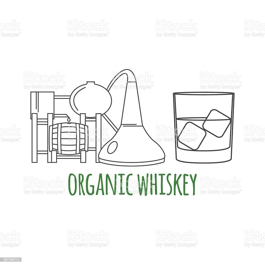 Glass of whiskey with ice. vector art illustration
