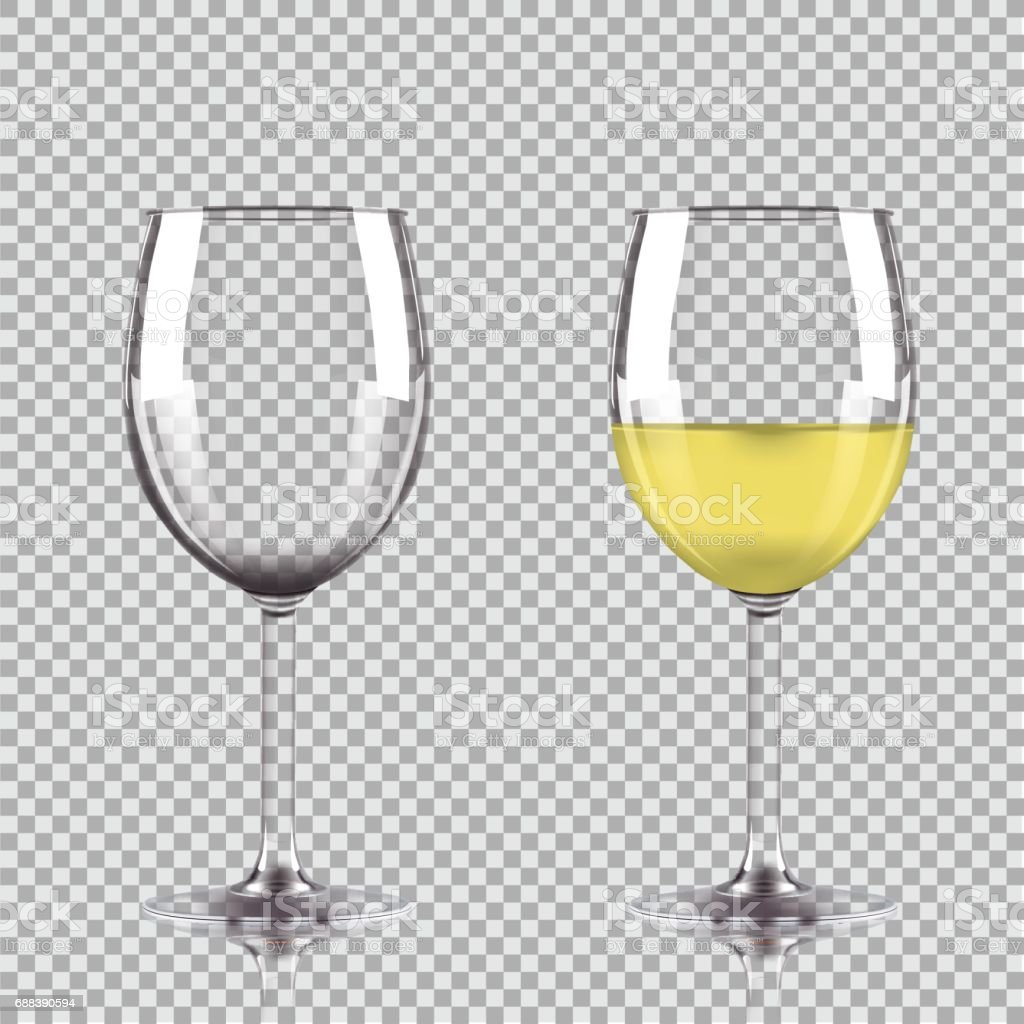 Glass of white wine and empty glass. Vector illustration isolated on transparent background. vector art illustration