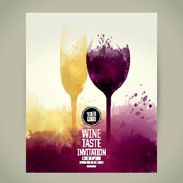 bildbanksillustrationer, clip art samt tecknat material och ikoner med glass of wine and sparkling wine with background of stains - vitt vin glas