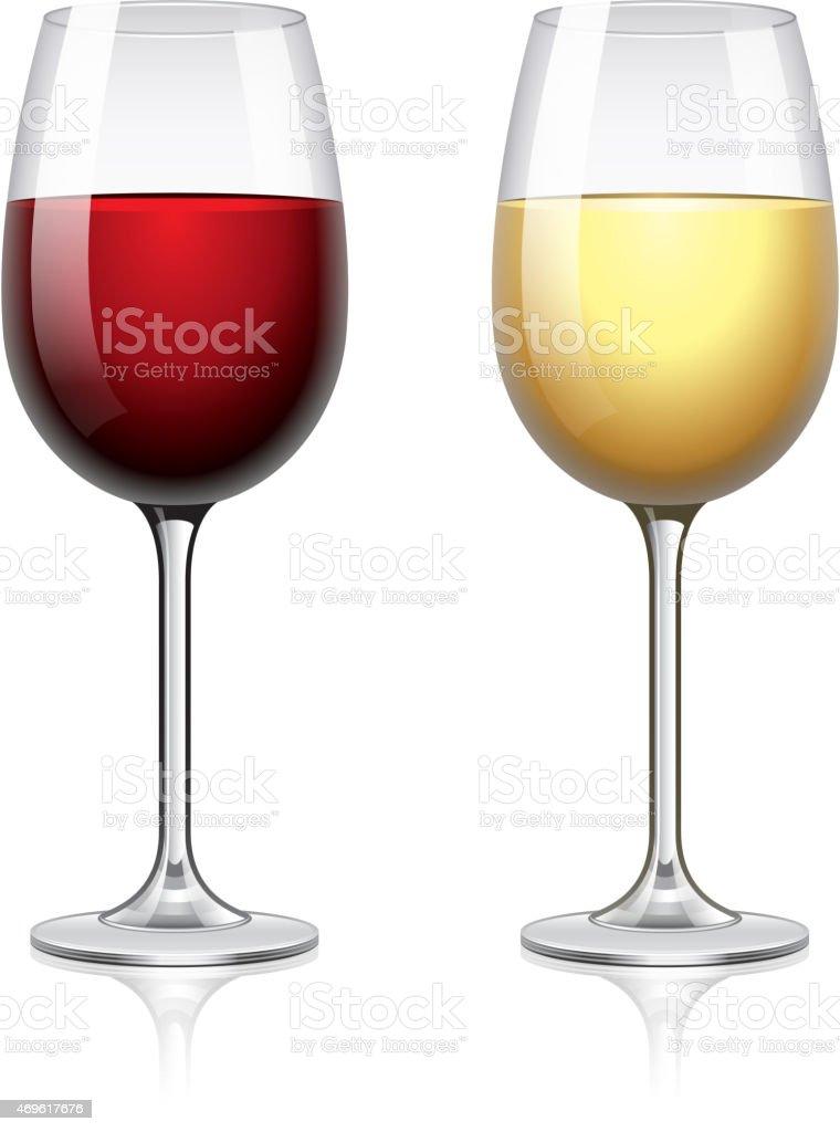 Glass of wine isolated on white vector vector art illustration
