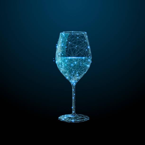 Glas Wein low-Poly blau – Vektorgrafik