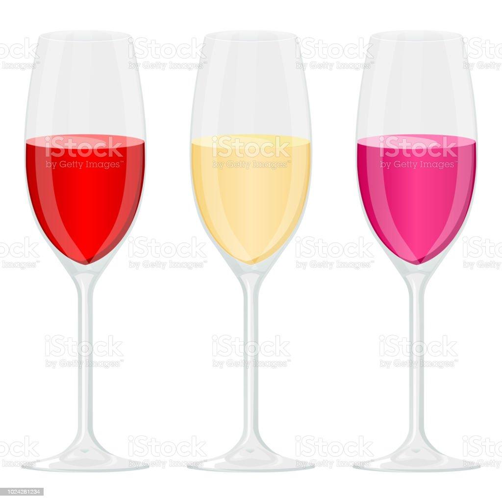 Verre De Vin Rouge Blanc Et Rose Vin Vecteurs libres de droits et plus d'images vectorielles de Alcool