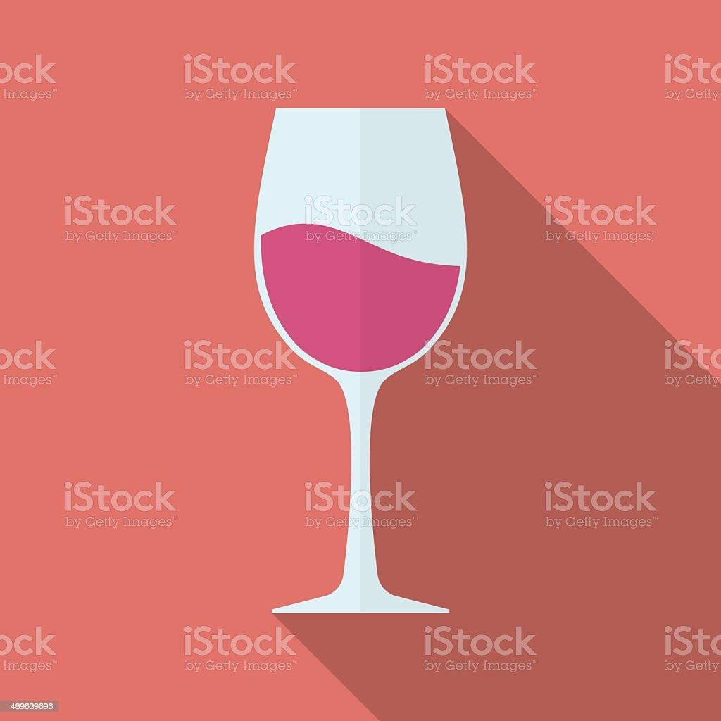Glass of wine vector icon. Flat style vector art illustration